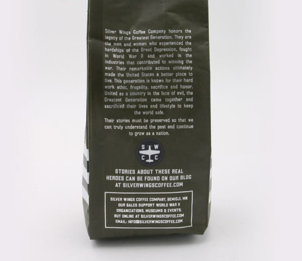 Silver Wings Mission on Back of Bag