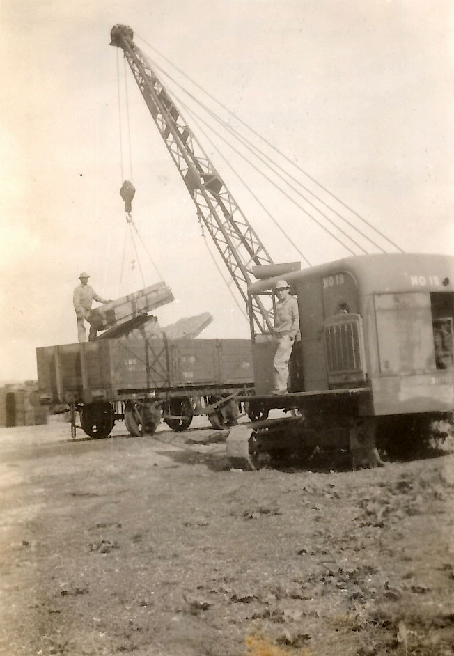 Alton working the crane in England in 1944