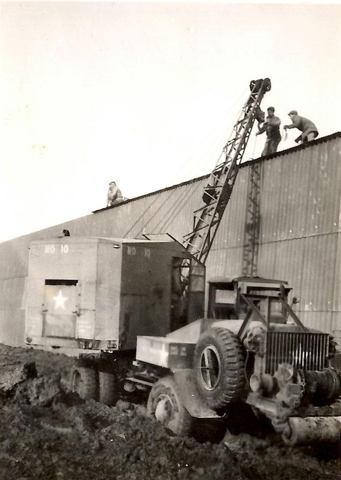 Building an airplane hangar in 1944